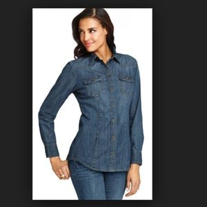 Cabi McQueen denim shirt fitted great look!